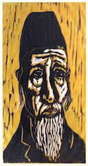 old man woodcut icon